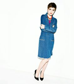 @Who What Wear - Blue Crush                 Next-level denim in the form of a menswear-inspired coat lends your favorite party dress the ultimate cool factor.  Isabel Marant Fara Coat ($620, 323.651.1493); Marc by Marc Jacobs Viola Sequin Printed Jersey Dress ($398) in Liberty Blue Multi; Aurélie Bidermann Indian Pink Do Brasil Necklace ($711) in Pink; Aldo Ina Heels (similar style here).
