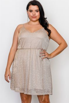 67f2eb051c Plus Size Gold Spaghetti Self-Tie Waist Mini Dress  2-2-2