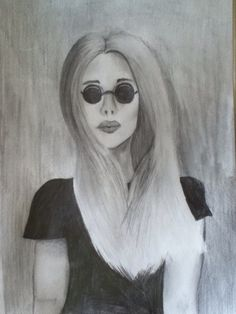 Girl with ombré hair portrait drawing