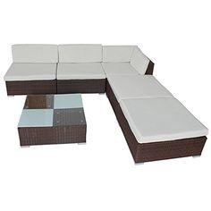 tectake poliratn conjunto tresillo muebles de ratn conjunto para jardn marrn http