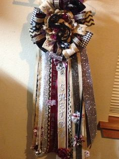 Homecoming mum with burlap and chevron theme