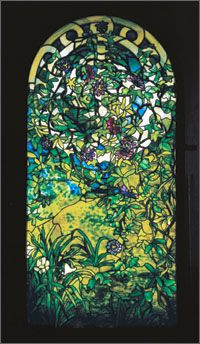 "Scroll and Vine window, Tiffany Studios. H. 66"", W. 31"", D. 9"". Courtesy of Neustadt Museum of Tiffany Art; photography by Nicholas Cass-Hassol."