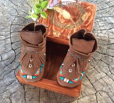 Turquoise Trail Moccasins with solid, pine finished heirloom box.