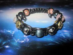 Black Mens bracelet Hawkeye stone Imperial jasper Blue tiger eye jewelry Peace bracelet  Pacifists jewelry Black Men bracelete Gift for men