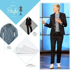 Ellen's Look of the Day: black suit, chambray button up, white shoes