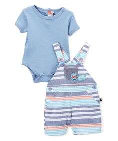 Take a look at this Blue Stripe Shortalls & Bodysuit - Infant today!