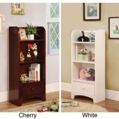 @Overstock - Materials: Solid wood, wood veneerFinish options: White, cherry Features three spacious open compartments for display and storagehttp://www.overstock.com/Home-Garden/Ebytown-Bedside-Cabinet-Display-Bookshelf/6231167/product.html?CID=214117 $187.99