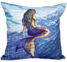 E by Design Simply Daisy 16 x 16 Mermaid Geometric Print Pillow Blue Throw Pillows, Throw Pillow Sets, Outdoor Throw Pillows, Decorative Throw Pillows, Plush Pillow, Pet Beds, Prints, Ebay, Mermaids