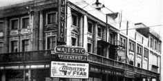 LONG GONE: Wanganui's old Majestic Theatre (left) shows a popular thriller from the mid 1940s, and now (above) the former Majestic Theatre site is Majestic Square, an outdoor recreation and entertainment space.100515WCSPPIC1