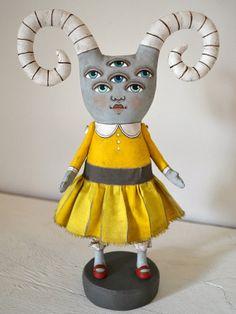 OOAK Monster in a Yellow Dress Folk Art Doll Sculpture Hand Painted Original. $140.00, via Etsy.