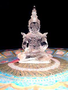 389.9 CT. Natural Quartz Shakyamuni Buddha Statue Carved Amulet No Reserved LP #HandCarved