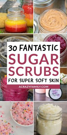 Sugar scrubs are without a doubt one of the most fun ways to take care of your skin. Check out this super fun list of 30 scrubs that you are sure to love! Body Scrub Recipe, Sugar Scrub Recipe, Diy Body Scrub, Diy Scrub, Diy Lotion, Lotion Bars, Diy Spa Day, Sugar Scrub Homemade, Fun List
