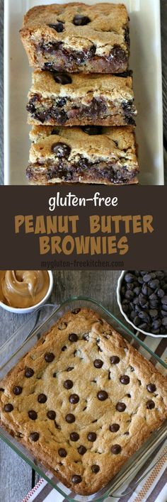Gluten-free Peanut Butter Brownies Recipe. This is what I make when I'm craving dessert but want something super easy! #glutenfreebrownies #glutenfreerecipes