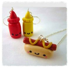 Hotdog necklace and sauces earrings set of 3 pieces .happy food in polymer clay fimo . Kawaii. Charm jewellery set Hotdog and sauce's.