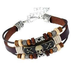 Jewelry & Accessories Fast Deliver Wholesale Vintage Black Skull Bracelets Hand Made Top Quality Leather Skeleton Bracelet Men Jewelry Outstanding Features Bracelets & Bangles