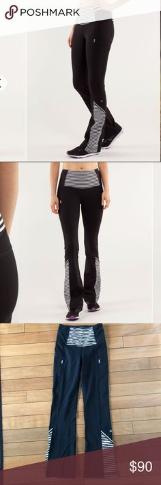 Lululemon Run : Ice Queen Pant Black White Stripe Lululemon high waisted run ice queen black classic stripe black and white! Size 4! Brushed power luxtreme material! Super soft warm and comfy! Excellent used condition. Pockets on sides of waistband and zipper pockets on front of pants! lululemon athletica Pants