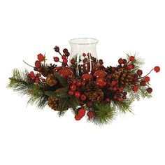 Add a natural touch to your tablescape with this organic-chic arrangement, featuring faux berries, apples, and pinecones nestled in evergreen branches around...