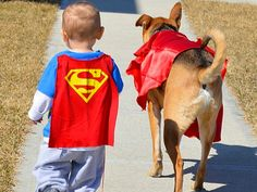 Dog and Baby Have a Very Busy, Adorable Schedule Together, they're superman strong