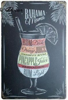 Bahama Mama Recipe Metal Sign