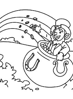 A Pot Of Gold Leprechaun Coloring Page
