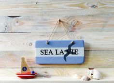 Sea la Vie Sign | Motivational Quote Sign | French Sign | Blue and White Nautical Sign | Words of Wisdom sign | Gift for Beach Lover