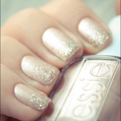 champagne nails with glitter tips/gradient. great look for fancy parties