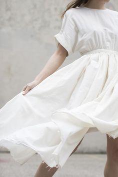 Black Crane Pleated Dress in Cream