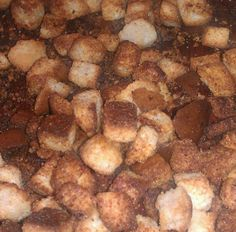 Cubed up some homemade bread, tossed it with olive oil and some dry ranch dressing mix, baked at 350 until they were toasty. Best croutons ever!