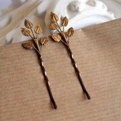 vintage leaves (bobby pins)