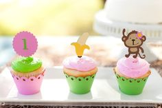 Mod Monkey  Jungle Theme Birthday Cupcake toppers Pink and Green. $9.00, via Etsy.