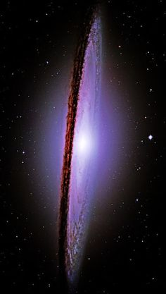 Sombrero Galaxy. Viewing this galaxy from the side is a completely  different experience from most of the other views of surrounding  galaxies. This galaxy is massive - over 50,000 light-years across! Photo credit: NASA Hubble