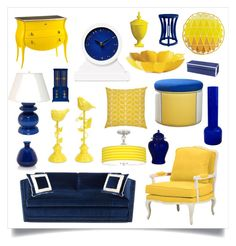 """navy & yellow"" by crystalliora ❤ liked on Polyvore featuring interior, interiors, interior design, home, home decor, interior decorating, Orla Kiely, Torre & Tagus, Kravet and Miles Talbott"