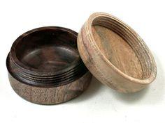 LV-3585  Carob & Black Walnut Burl  Flat Pill Box, Ring Holder, Jewelry Box-SCREW CAP