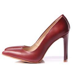 DARK RED Stiletto shoes - romanian designers SHOP ONLINE Red Stilettos, Stiletto Shoes, Pumps, Heels, Dark Red, Designers, Shopping, Fashion, Heel