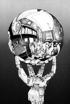 mc escher hand with reflecting sphere robot remake - Walyou Mc Escher, Escher Art, Comics Illustration, Illustrations And Posters, Manga Anime, Anime Art, Graphic Novel, Katsuhiro Otomo, Comic Art