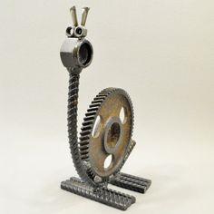 Welded Metal Folk Yard Art Snail Sculpture assembled from Gears, Rebar and found metal objects