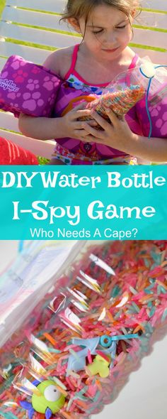 Reuse old water bottles and make a fun item for the beach bag. DIY Water Bottle I-Spy Games are so easy to make the kids can help on this crafty project. #ad #JumpIntoSummer
