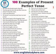 100 Sentences of Present Perfect Tense English Grammar Tenses, English Prepositions, Teaching English Grammar, English Writing, English Study, English Words, English Vocabulary, Learn English, English Language