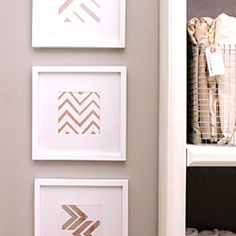 Have 15 minutes? Create this fun easy project with spray paint and painters tape, or use the provided chevron template.