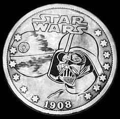 JIM BROYLES HOBO NICKEL - DARTH VADER - 1908 V NICKEL Hobo Nickel, Coin Art, Coin Collecting, Art Forms, Metal Art, Sculpture Art, Cool Photos, Coins, Darth Vader