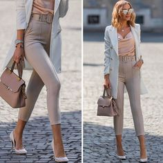 Pastel vibes🍂Hello autumn, it's nice to see you again @rosetown_hungary silk top, blazer and beige belted pants @thomassabo_hu necklace @camelia_roma powderpink bag @kazar pumps @eyelovesquad sunnies (old one but they have 40%OFF of everything now) @michaelkors watch (via @watch_my_watch ) #sunglasses #outfit #style #fashion #fashionista #fashionblogger #mesiszigeti #ootd #outfits #falloutfit #pastelove #pasteloutfit #autumnoutfit #autumnstyle Fall Outfits, Cute Outfits, Trendy Fashion, Womens Fashion, Style Fashion, Pastel Outfit, Instagram Outfits, Business Casual Outfits, Classic Outfits