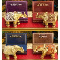 Set of 4 Decorative Mini Elephants (3.25 long), Gold