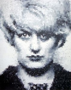 """""""Myra"""" by Marcus Harvey (1995). It`s a painting of the child murderer Myra Hindley and was part of the Sensation exhibition for the Royal Academy of Art in London in 1997."""