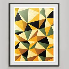 Geometric Retro Art Print A3, Abstract Poster, Kitchen Print, Vintage Home Art Wall Decor, Office Decor