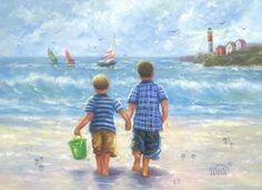 Two Beach Boys Art Print two little brothers by VickieWadeFineArt