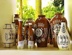 Handmade pots with WARLI designs:
