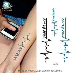 Rui Inglés cartas Kalong electrocardiograma de macho y hembra del tatuaje impermeable pequeño tatuaje fresco pegatinas HC1089(China (Mainland))