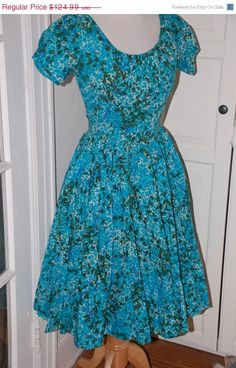 50% OFF SALE Vintage 50s Dress Full Skirt by fourstoryvintage