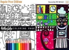 45% Off Sale- cat coloring, chef kitchen coloring book, adult coloring book, coloring pages, adult coloring pages, coloring book for adults