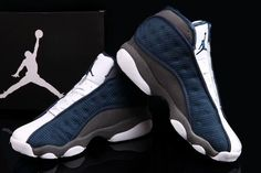 Air Jordan 13 White Dark Blue Basketball Shoes2